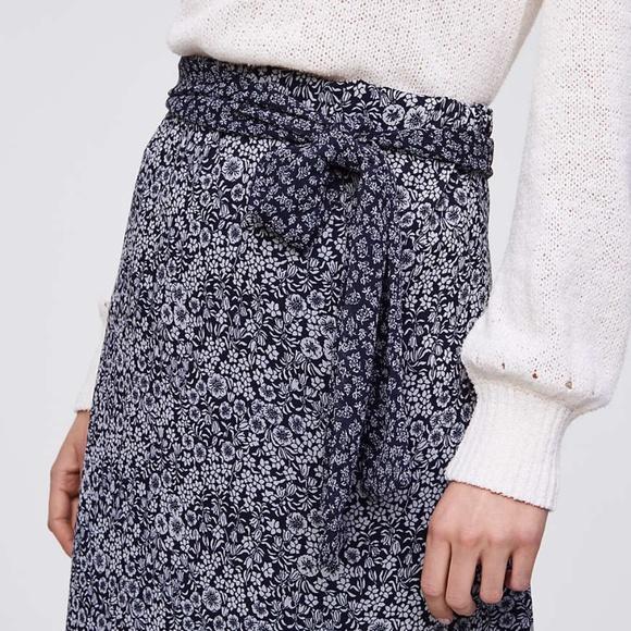 0bc438c990 LOFT Skirts | Nwt Blossomed Floral Tie Waist Midi Skirt | Poshmark